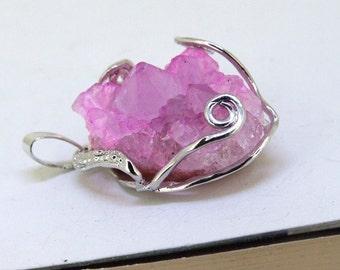 Random Nugget Rose Cluster Crystal Quartz Gemstone Beads Pendant Geodes Druzy Geode Penant base Jewelry Supplies