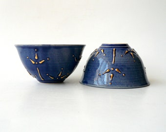 Ceramic Dessert Bowl / Ice Cream Bowl / Tea Bowl In Royal Blue with Blooms of Gold by Cecilia Lind, Studio Lind