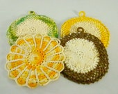 Vintage Pot Holders/ Hot Pads, Crocheted Pot Holders