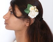 Spring  floral bridal hair clip - White rose with small rose buds and daisy floral with green velvet leaves....