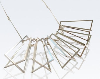 Geometric sterling silver necklace - statement necklace - limited edition