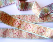 Jacquard Embroidered Ribbon, Cream - Celedon - Red - Pink - Taupe, 1 1/2 inch wide, 1 yard, For Home Decor, Accessories, Apparel