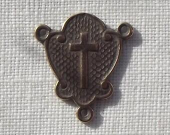 Bronze Rosary Centerpiece with Cross