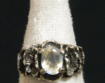 Gothic Ring with Moonstone Size 6.5