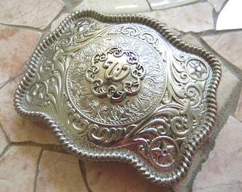 Monogram Letter W Personalized Silver Belt Buckle, Rhinestone Initial W Monogrammed Womens Western Vintage inspired Custom Belt Buckle