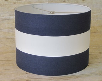Drum Lamp Shade Lampshade Pendant Navy White Wide Stripe