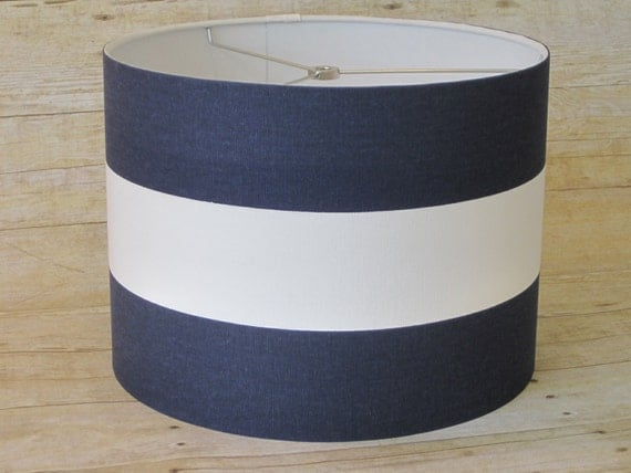 Items similar to drum lamp shade lampshade pendant navy for Wide drum lamp shade