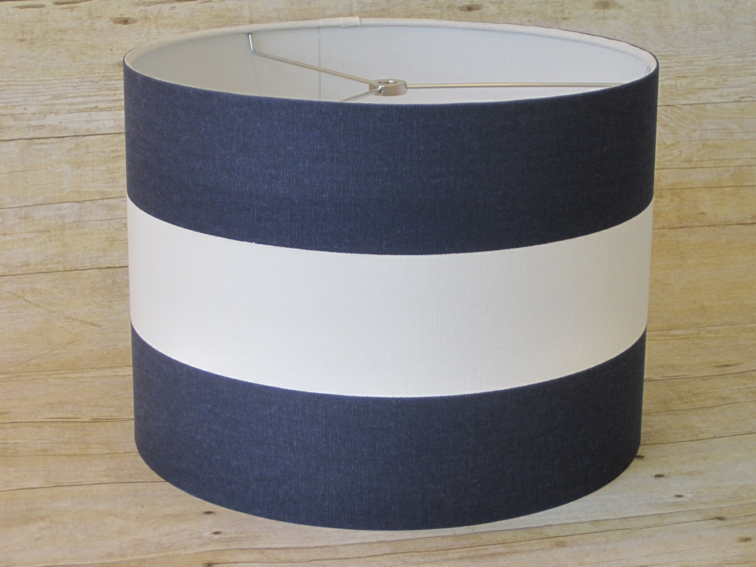 drum lamp shade lampshade pendant navy white by sweetdreamshades. Black Bedroom Furniture Sets. Home Design Ideas