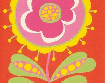 Patty-O Flower: Set of 6 A2 eco greeting cards in sorbet colors. Blank inside. Design by Carol Van Zandt for Studio Seneca Fine Arts.