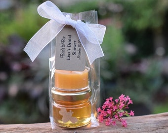 Honey Jars & Beeswax Tealight Favors with Custom Tags.  Favors for Weddings, Bridal Shower, Baby Shower and More.