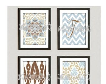 Personalized Light Blue Taupe Brown Vintage / Modern inspired  Art Prints Collection -Set of (4) - 8x10 Prints -   (UNFRAMED)