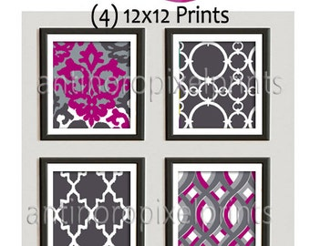 Fucshia Grey Vintage / Modern inspired Ikat Art Prints Collection  -Set of (4) - 12x12 Prints -   (UNFRAMED)