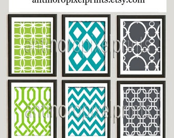 Damask Digital illustration Wall Art - Set of (6) - 8x10 Prints - Featured in Turquoise Lime Grey (UNFRAMED)
