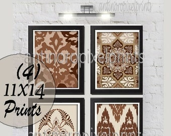 Browns Ikat Damask Digital  inspired  Wall Art Prints Collection -Set of (4) - 11x14 Prints -   (UNFRAMED)