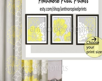 Florals Yellow Grey White Wall Art Vintage / Modern Inspired -Set of (3) - Wall Art Prints -  (UNFRAMED)