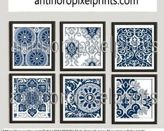 Ikat Damask Navy Blue Grey White Prints, Set of (6) Wall Art Prints, Custom Color Available.  Unframed