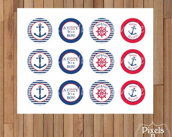"""DIY Printable Nautical """"Ahoy it's a Boy!"""" 2"""" Party Circles/Cupcake Toppers by Pixels n Ink - INSTANT DOWNLOAD"""