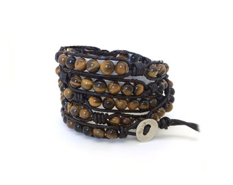 Men's tigers eye and leather wrap bracelet