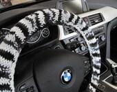 Knit Steering Wheel Cover, Wheel Cozy - zebra (KSWC2D)