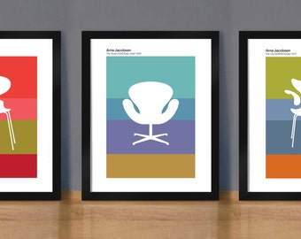 Set of Three Jacobsen Chair prints, Furniture Poster, Mid century modern, Arne Jacobsen, Wall Art, Ant, Lily, Swan Chairs, Retro poster