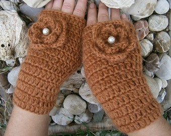 Hand Crochet Mittens Flowers Pearl