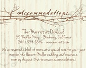 Printable Wedding Invitation Accommodations Card - 3.5x5 - Branch Heart - Vintage Rustic Woodland Twigs - Brown Tan Sepia
