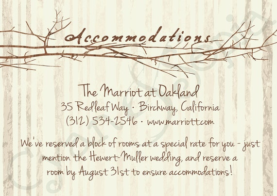 Accommodation Cards For Wedding Invitations: Printable Wedding Invitation Accommodations Card 3.5x5