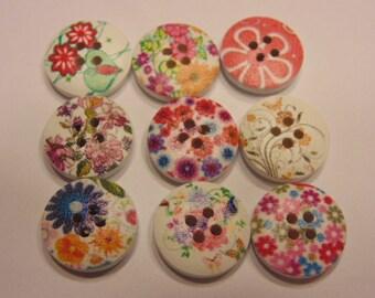 9 wood flower buttons, 16 mm (B4)