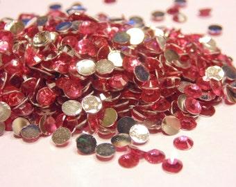 100 pink flat back rhinestone beads, 4 mm (S1)