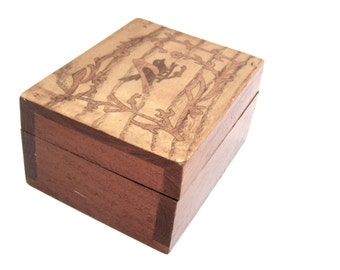 Small Wooden Box, Hinged Inlaid  Dovetail Wood box, Vintage Trinket Box, Bird Design and Surrounding Branches, Desk Storage Container