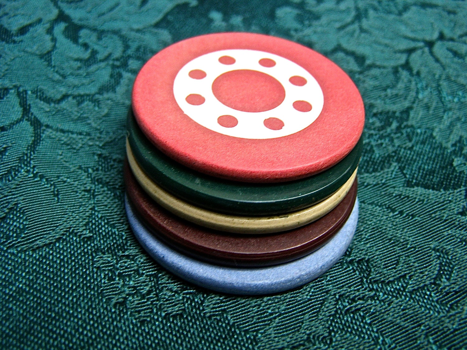 Clay Poker Chips Set of 5 Vintage Game Chips by ...