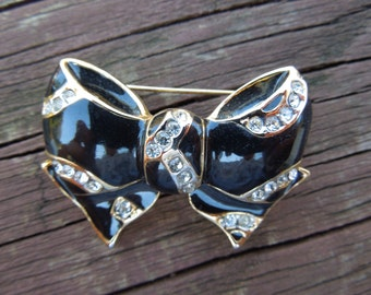 Vintage Bow Brooch, Gold Tone with Rhinestones and Black Enamel, Very Nice Condition