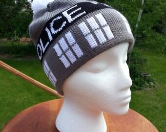 Classic Black and White Tardis Beanie Hat