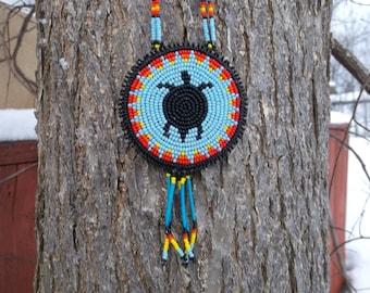 native american, turtle necklace,pow-wow,beadwork