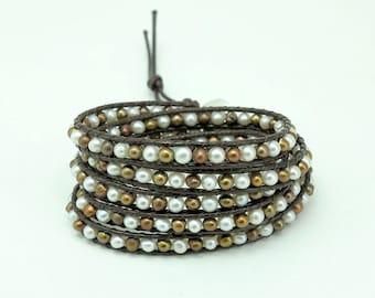 Freshwater pearl wrap bracelet.