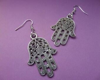 Hamsa Hand / Hand of Fatima/Mary/Miriam in antique silver - Tibetan Silver Earrings - In Organza gift bag.