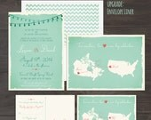 Mint and Coral Two Countries Wedding Invitation Set Two Countries Two Hearts One Celebration bilingual wedding invitation RSVP Design fee