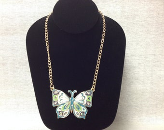 Vintage Goldtone Necklace with Teal, White, and Green Butterfly Pendant