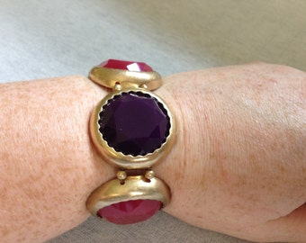 Vintage Costume Pink and Purple Plastic Beads with Goldtone Metal Backing