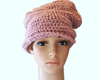 Knit Beanie, Chunky Slouch Hat, Slouchy Cap, Slouch Hat, Pink Womens Hat, Baggy Slouch Cap, Pink Winter Hat, Beehive Hat, Oversized Hat