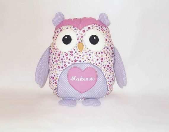 Personalized Owl Pillow -  Sweet Heart Owl Baby Shower - purple, yellow, pink- white - HET -