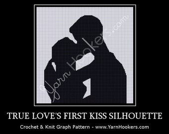 True Love's First Kiss Silhouette - Afghan Crochet Graph Pattern Chart - Instant Download