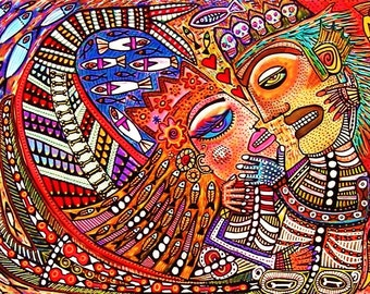 Day Of The Dead Mermaid & Merman Lovers** - SILBERZWEIG ORIGINAL Art PRINT - Mexican, Talavera, King, Neptune, Queen, Fish, Hearts, Skeleton