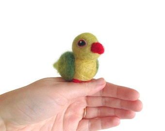 Needle Felted Parrot, Miniature Green Conure Soft Sculpture