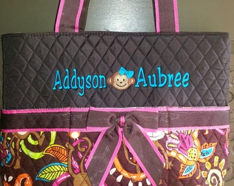 Monkey Quilted BROWN  and Multi color  Diaper Bag  3pc Set  purse tote bag-NOT PERSONALIZED
