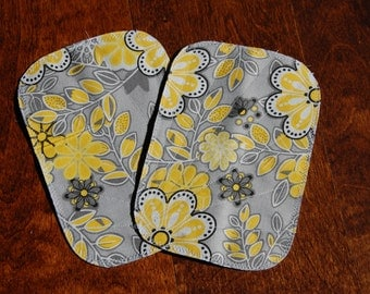 Yellow Flowered Iron On Knee Patches for Kids