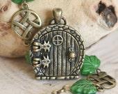 Fairy Door Locket, Garden Door Necklace, Forest Green Leaves Celtic Necklace