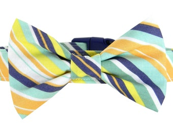 Navy Yellow Mint Stripe Bow Tie Dog Collar/ Wedding Dog Bow Tie Collar: Prep Tie