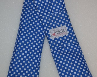 Blue with white polka dots Padded SLR or DSLR Camera Strap Cover with 2 Lens Cap/SD Card Pockets