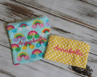 Rainbow and Dot  (Optional Personalization)  Reusable Sandwich & Snack Bags with Zipper Closure